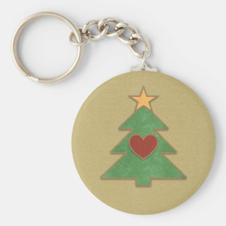 Country Scrapbook Style Christmas Tree Keychain