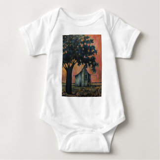 Country Shack Blues Guitar Under a Shade Tree Art Baby Bodysuit