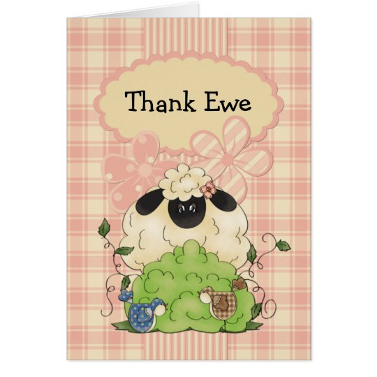 Country Sheep and Birdies Thank You Card