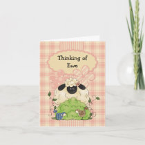 Country Sheep and Birds Note Card