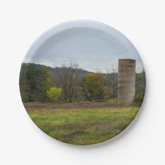 Country Silo Landscape Paper Plate