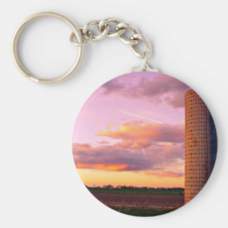 Country Silo Sunset Keychain