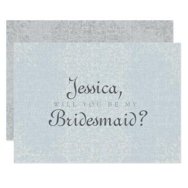 Bride Themed Country Silver Bridesmaid Card