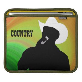 Country singer's silhouette, green orange back iPad sleeves