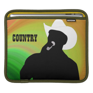 Country singer's silhouette, green orange back sleeve for iPads