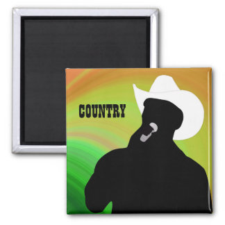 Country singer's silhouette, green yellow back 2 inch square magnet