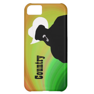 Country singer's silhouette, green yellow back cover for iPhone 5C