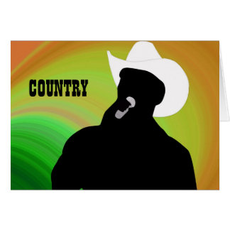 Country singer's silhouette, green yellow back greeting card