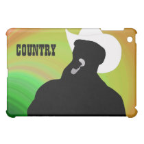 Country singer's silhouette, green yellow back iPad mini case