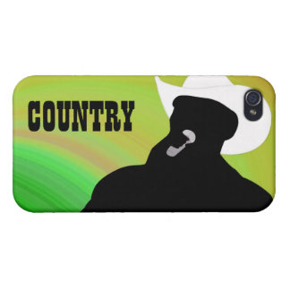 Country singer's silhouette, green yellow back iPhone 4 case