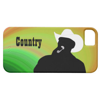 Country singer's silhouette, green yellow back iPhone SE/5/5s case