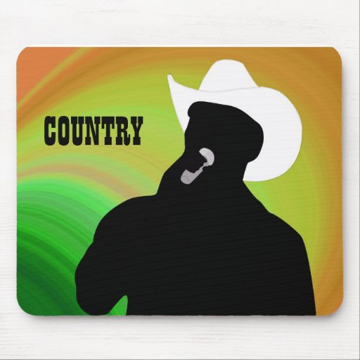 Country singer's silhouette, green yellow back mouse pad