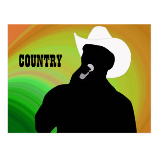 Country singer's silhouette, green yellow back postcard