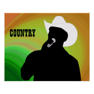 Country singer's silhouette, green yellow back posters