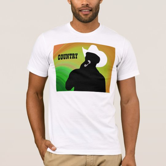 Country singer's silhouette, green yellow back T-Shirt