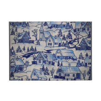 Country Snow Village Winter Scene Blue and White iPad Mini Cover