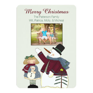 Country Snowman Christmas Photo Card Personalized Announcements