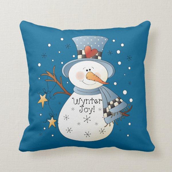 Country snowman Christmas Winter throw pillow