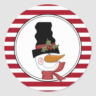 Country Snowman Holiday Envelope Seals Stickers
