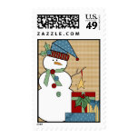 Country Snowman Postage Stamps