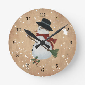 Country Snowman Wall Clock