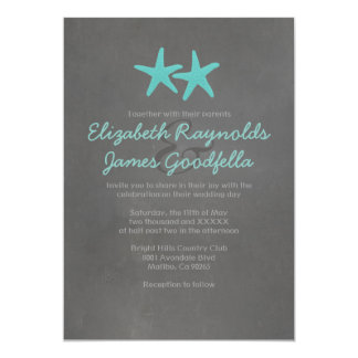 Country Starfish Beach Wedding Invitations Card