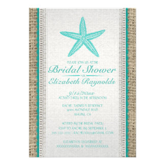Country Starfish Bridal Shower Invitations Invitation