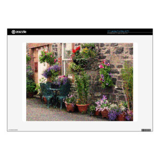 "Country Stone Cottage With Flowers 15"" Laptop Skins"