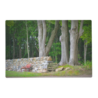 Country Stone Wall and Barn Placemat Laminated Place Mat
