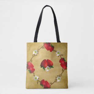 Country Strawberries All Over Print Tote Bag
