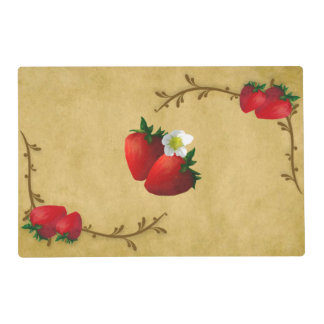 Country Strawberries Laminated Placemat