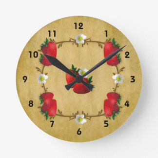Country Strawberries Wall Clock