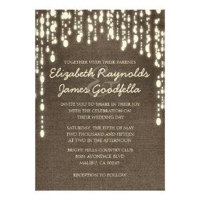 Country String of Lights Wedding Invitations Custom Invitation