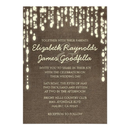 Country String of Lights Wedding Invitations Custom Invitation Zazzle