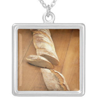 Country-style baguette For use in USA only.) Square Pendant Necklace