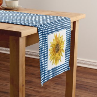 Country Style Blue Gingham Plaid with Sunflowers Short Table Runner