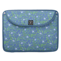 Country-style Blue Green Floral Periwinkle Pattern MacBook Pro Sleeve