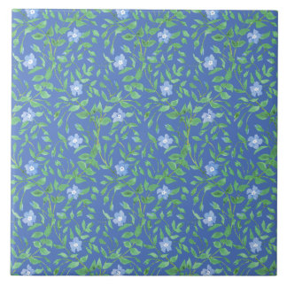 Country-style Blue Green Floral Periwinkle Pattern Tile