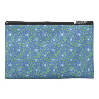 Country-style Blue Green Floral Periwinkle Pattern Travel Accessory Bag