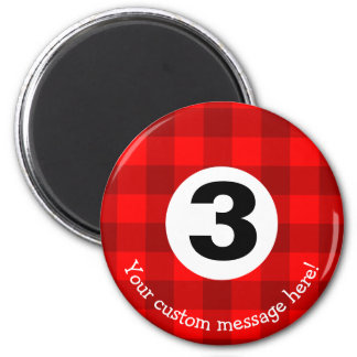 Country Style Checkered Billiards Three Ball Magnet