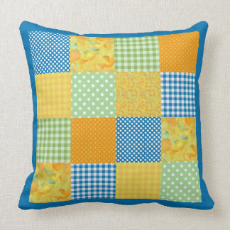Country-style Faux-patchwork Pillow: Daffodils