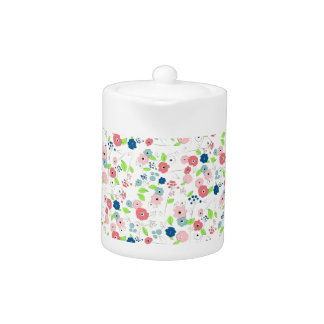Country style floral pattern teapot