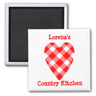 Country style gingham magnet