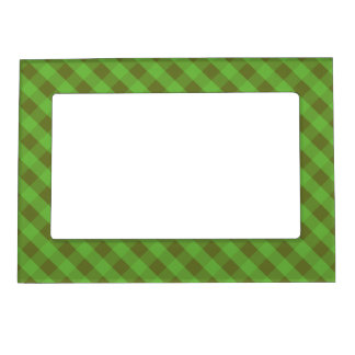 Country-style Green Check Gingham Magnetic Frame