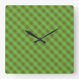 Country-style Green Check Gingham Wall Clock
