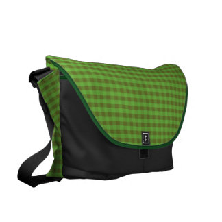 Country-style Green Check Rickshaw Messenger Bag