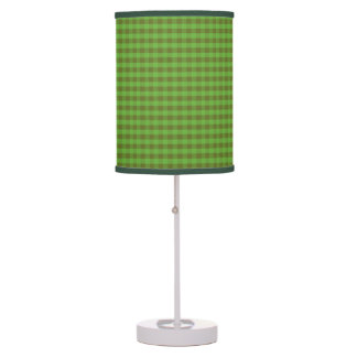 Country-style Green Check Table Lamp and Lampshade