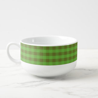 Country-style Green Check White Ceramic Soup Mug