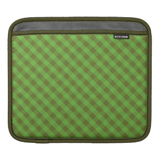 Country-style Green Gingham Rickshaw iPad Sleeve