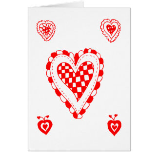 Country style heart, small heart corners design greeting card